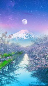 桜と満月と富士山で運気が上がる待ち受け