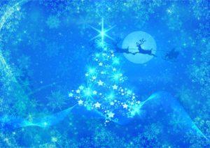 青いクリスマスツリーの恋の願いがかなう待ち受け