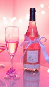 ピンクの待ち受け、ピンクシャンパンで連絡が来るおまじない背景画像