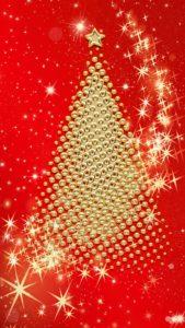 赤と金のクリスマスツリーのお金や仕事、ギャンブルの願いが叶う待ち受け