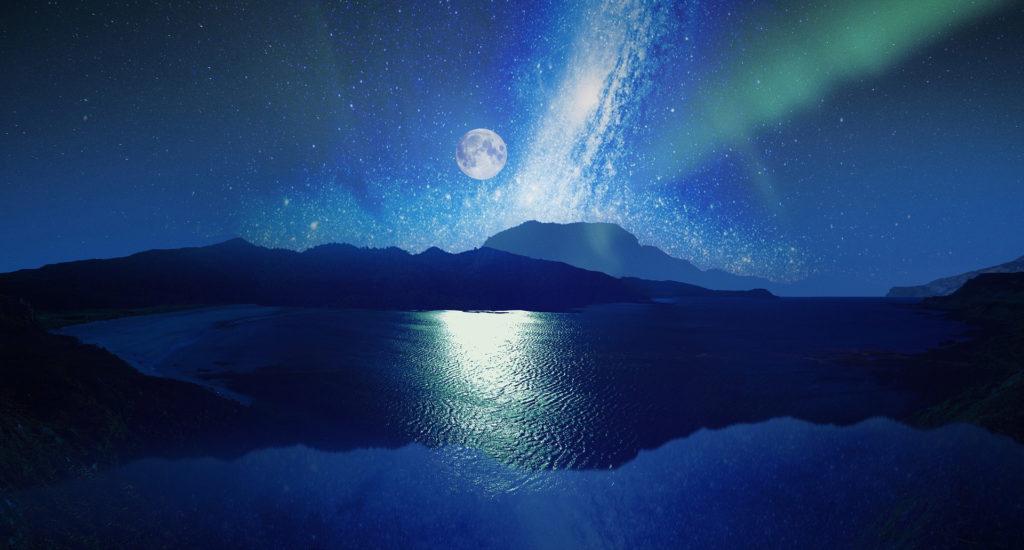 満月とオーロラ、満天の星と海の運気をあげる、願いが叶う待ち受け画像