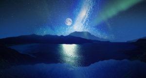 運気をあげる、願いが叶う待ち受け画像、満月とオーロラ、満天の星と海