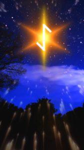 ルーン文字ユルと星の復縁待ち受け画像、ライン背景