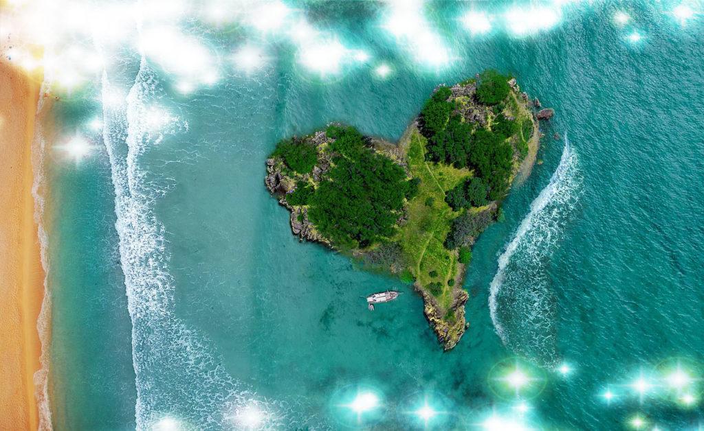 ハートの島と船で好きな人に会える、連絡が来る、恋愛運アップの待ち受け