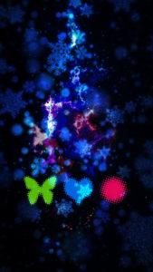 友達ができる蝶と小鳥と赤丸の背景画像、待ち受け