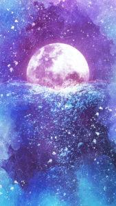 海とピンクムーンの満月で願いが叶う待ち受け、ラインの背景画像、トークルームの背景画像、壁紙