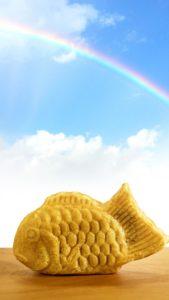 とにかくいいことがある、運気が上がる虹の鯛焼きの待ち受け画像、LINEの背景画像