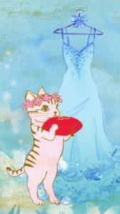 恋を叶える猫のリングガールの待ち受け画像、ラインの背景、壁紙