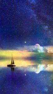 星の船で願いに近づいて願いを叶エル待ち受け、背景画像